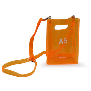 High quality glitter orange jelly PVC bag with shoulder straps transparent PVC cosmetic bag
