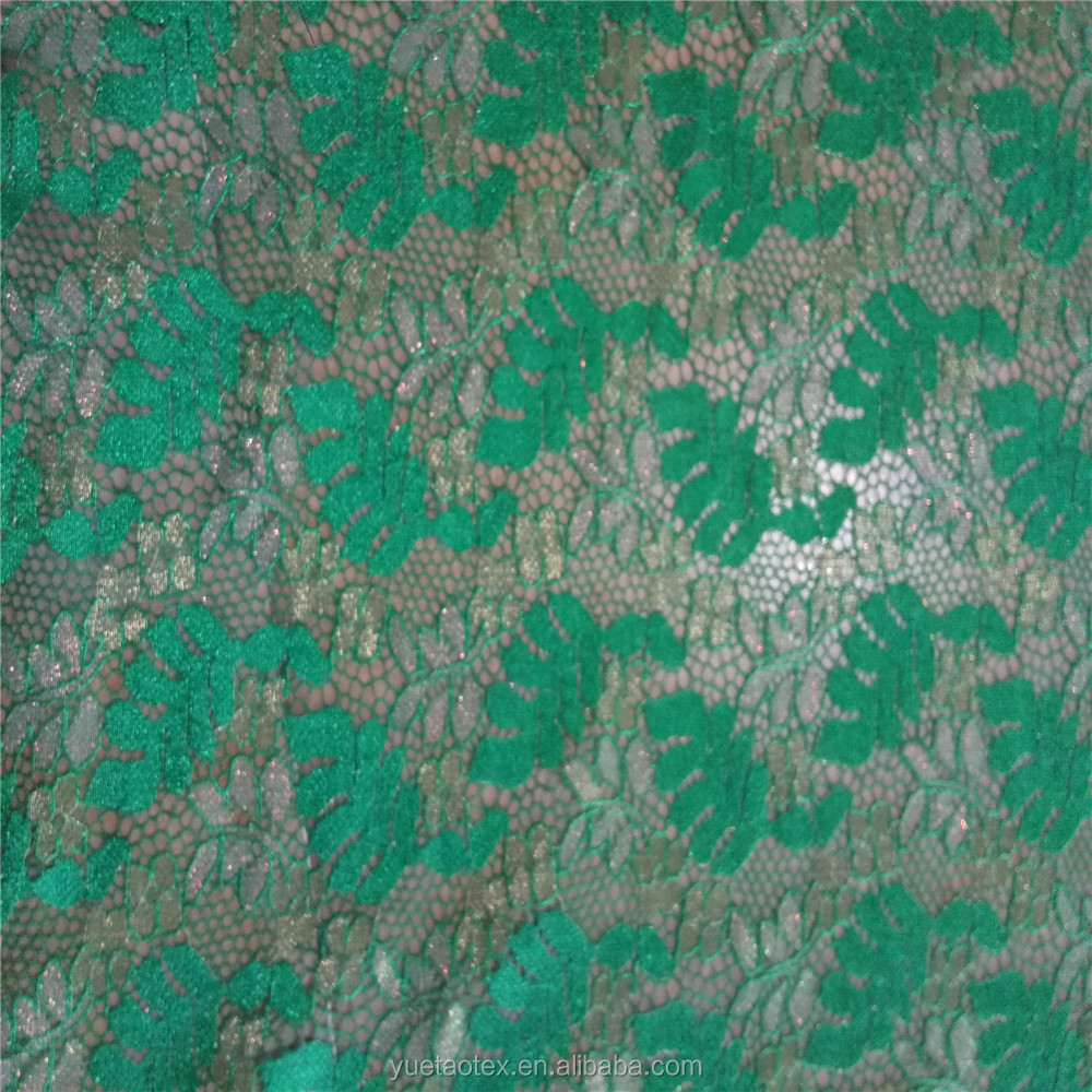 2016 Popular Leaves Design Nylon Polyester Lurex Cord Lace Fabric