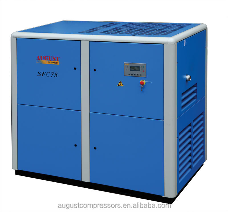 SFC75A 75KW/100HP 7 bar AUGUST stationary air cooled screw big air compressor