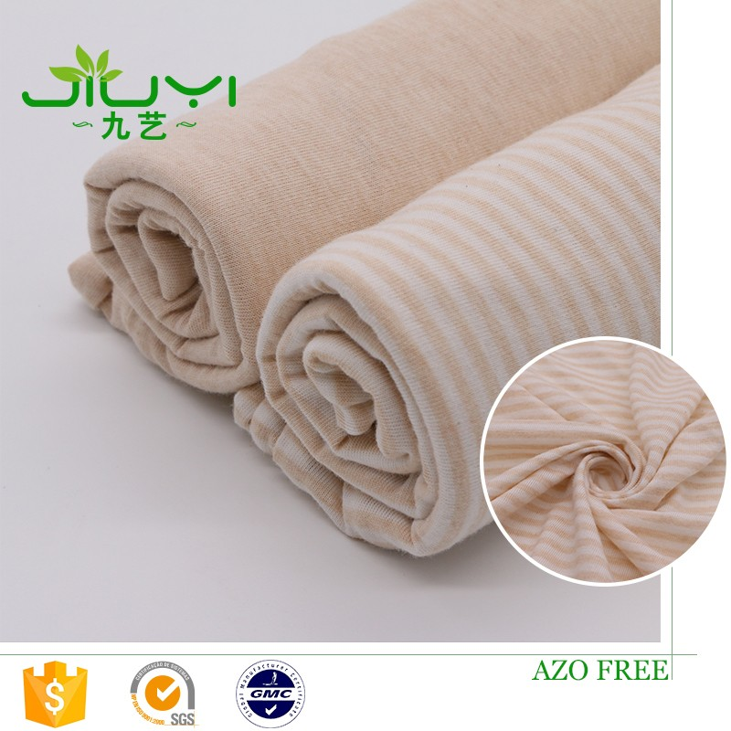 wholesale natural stripes organic cotton jersey fabric for baby