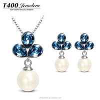 T400 S925 sterling silver jewellery artificial pearl crystal from Swarovski s011