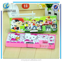 (CY6329) Good quality low moq side top pencil case, wood made pencil box