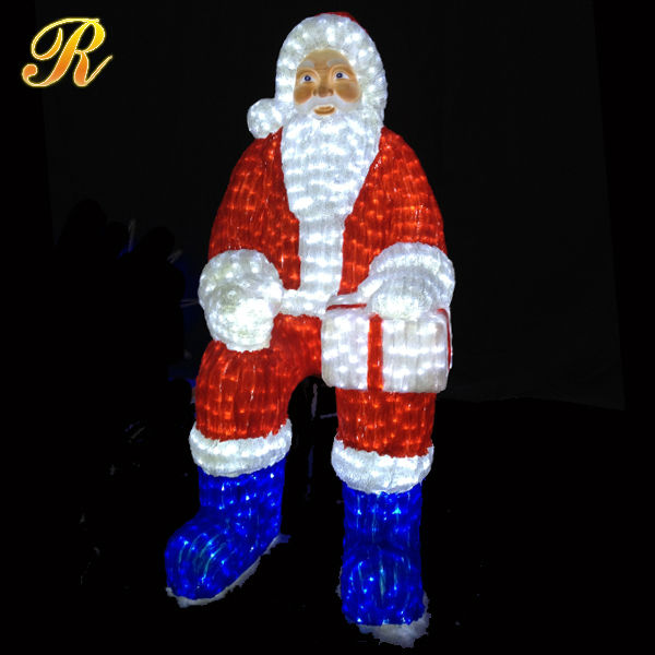 Acrylic santa claus led moving outdoor wholesale christmas decorations
