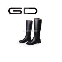 Newest Design Superior Quality Stylish Low Heel Sex PU half Lady Boots