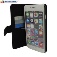 sublimation stand leather flip case for iphone 6 plus flip leather wallet leather mobile case