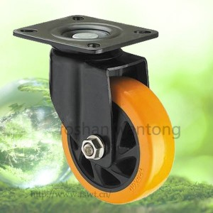 Black Bracket Orange PU Wheel 100mm Industrial Trolley Swivel Caster