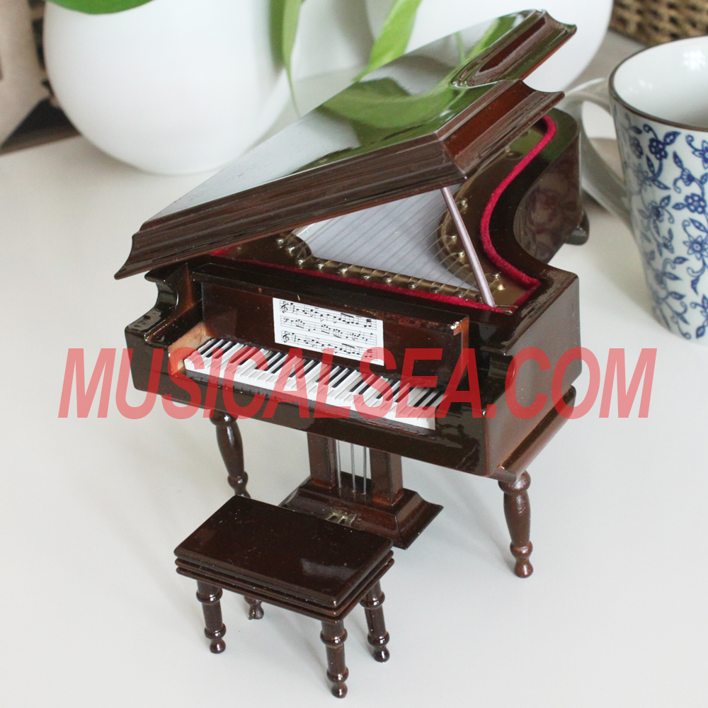 miniature piano / piano shaped music box / mini piano musical instrument handmade craft can be processed hand crank music box