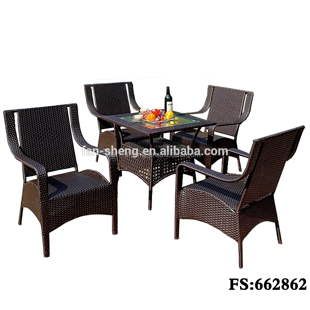 FANSHENG BLACK PE/WICKER RATTAN HOME FURNITURE SPECIFIC USE DINING ROOM SET FOR DINING ROOM FURNITURE