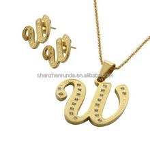 stylish Sets jewelry earing and necklace 18K gold-plated stainless steel w letters suit