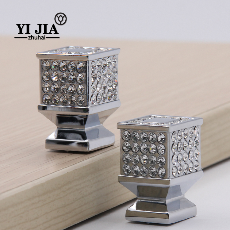 Chrome Finish Zinc Alloy Square Crystal Drawer Cabinet Pulls and Knobs