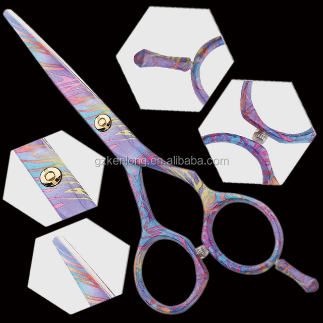 Top quality titanium colorful professional razor edge hairdressing shears