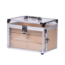 Acrylic Aluminum Makeup Beauty Case Cosmetic Carrying Case With Drawers
