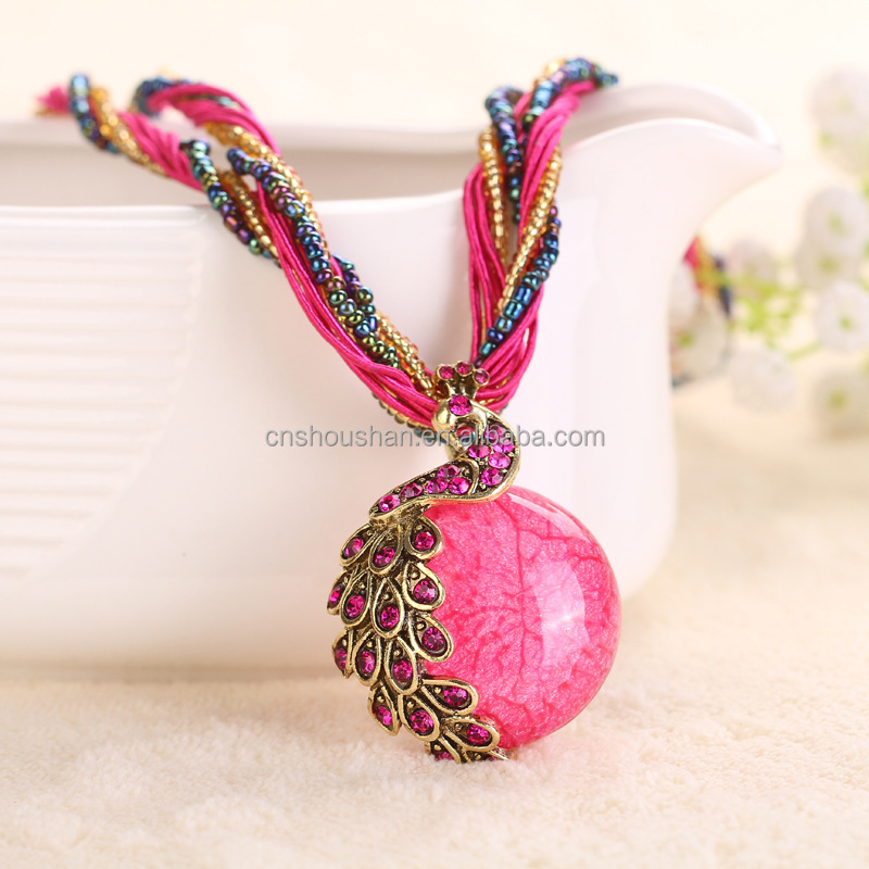 Bohemian Colorful Women Beads Natural Stone Peacock Pendant <strong>Necklace</strong> With Multilayer Chain Turkish Jewelry