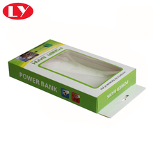 Custom printed paper hanging display box with clear PVC window