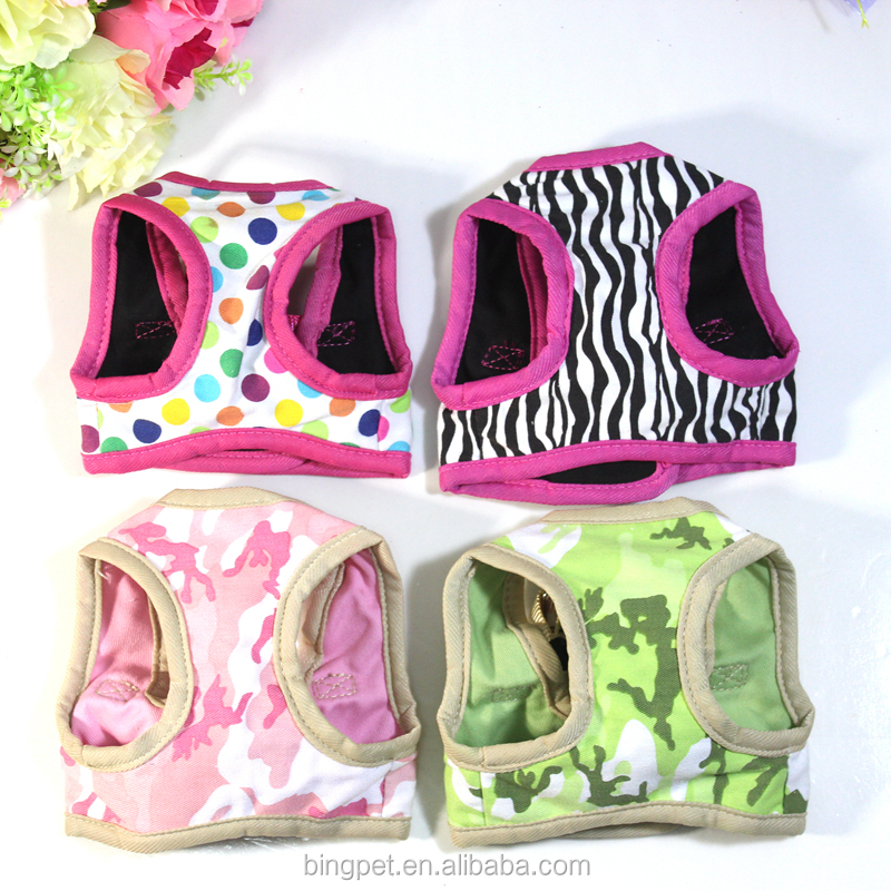 OEM New Design Dot Stripe Print Cotton Fabric Soft Air mesh Padded Adjustable Chest Pet Dog Puppy Vest Harness Clothing