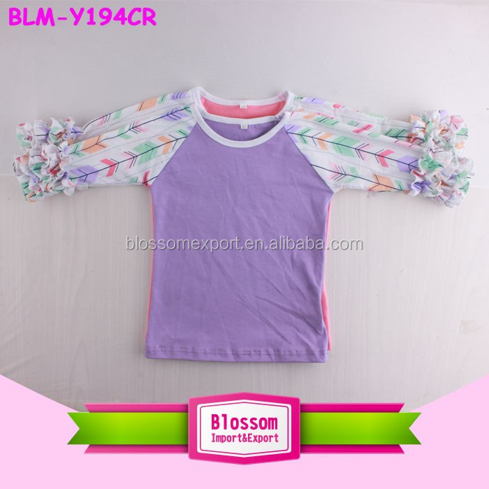 Wholesale Children Custom Raglan Baseball Tops Boutique Shirts Toddler Ruffle Sleeve Arrow Printed Patterm Icing Raglan Shirts