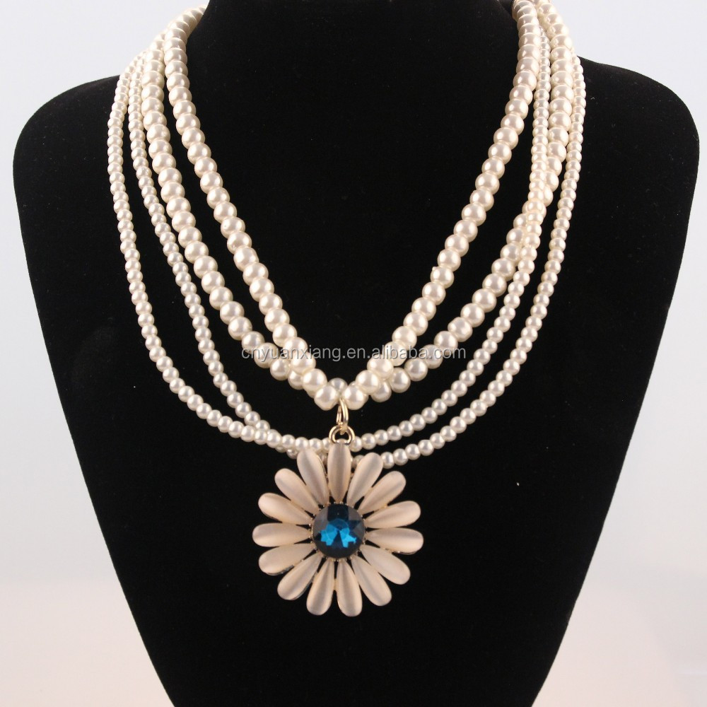 2015Many string of pearls hanging drop flowers fashion necklace