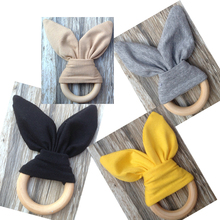 Baby Teether Wood Ring with Fabric Wooden Training Sensory Baby Aid Handmade Ring Teething Newborn Bunny Ears Teether