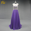 New Arrival Scoop Neckline Sleeve Chiffon Long Purple Real Sample Evening Dress Beaded
