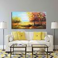 Fall Woods Abstract Landscape Original Canvas Oil Painting Art