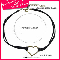Hot in shopping websites unisex fashion retro love heart charm choker necklace leather chain handmade jewelry