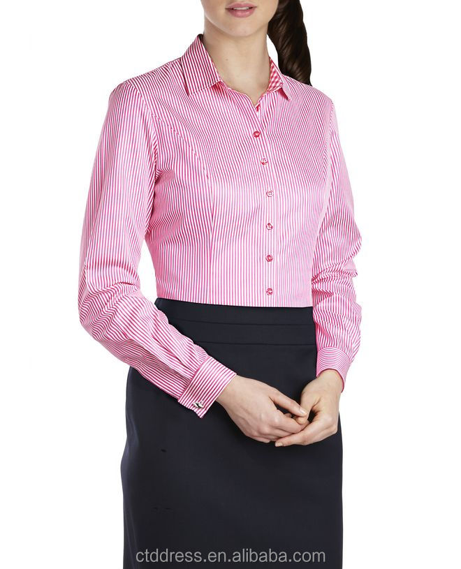 2014 High Quality 100% cotton classic red stripe formal long sleeve shirt for women