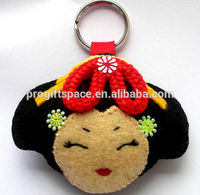 alibaba express hot sale high quality decorative new products fabric eco friendly felt custom rubber keyring made in china