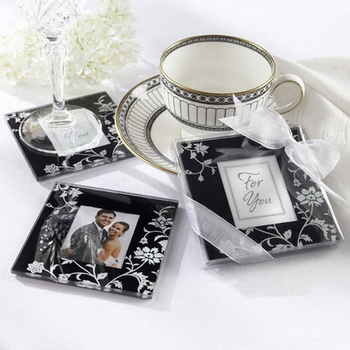fancy beautiful wedding glass coaster
