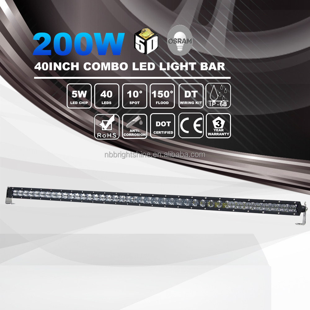 "Golden Supplier 40"" 12 volt 4x4 200w Super Slim Led Light Bar for Off Road"