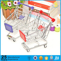 mini shopping cart desktop storage busket decoration for kids funny toy