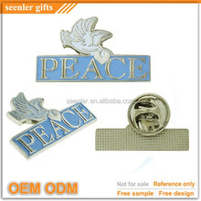 Rush order available oem odm peace dove pin badge emblem