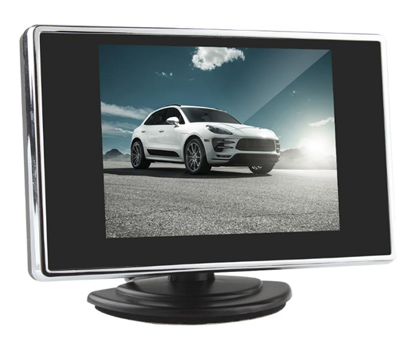 3.5 inch car rear view mirror LCD monitor with 2 way video inputs
