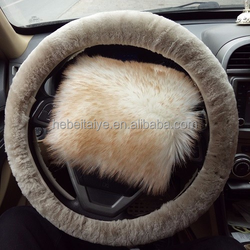 Sheepskin steering wheel cover short wool sheepskin car wheel cover