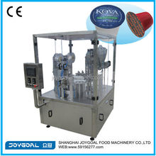Rotary plastic cup filler and sealer machine