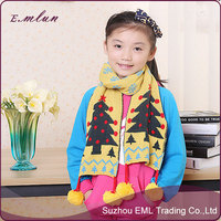 New Design Long Christmas Tree Pattern Kid Knitted Shawl Scarfs