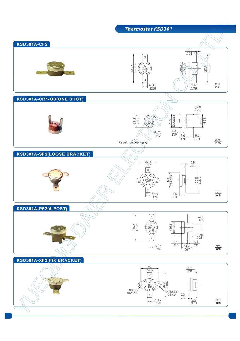 15A KSD301 Thermostat(250V/10A) KSD301-OR2 55~180 Degree NO/NC With Looser Collar