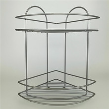 2 TIER CORNER METAL WIRE BATHROOM RACK GRAY POWDER COATING FINISHING BATHROOM POLE SHELF