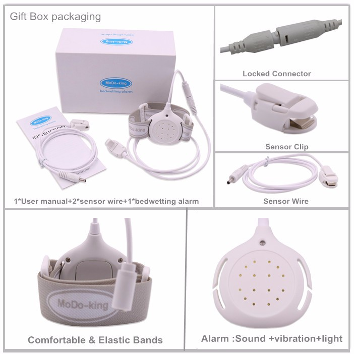 2016 Popular bedwetting alarm treat enuresis With separate sensor clip for baby Children