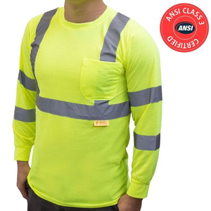 Yellow , RED, ORANGE Hi Vis T Shirt ANSI Class 3 Reflective Safety Long Sleeve HIGH VISIBILITY