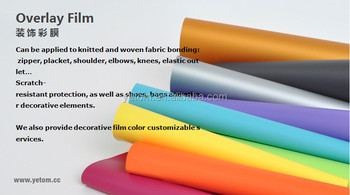 Solid Color Overlay Film for fabric bonding