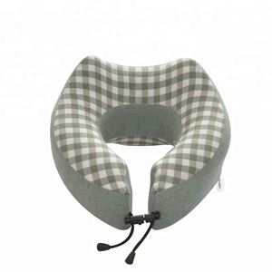 2018 Hot Sale New Design 100% Washed Cotton Cover Travel Neck Pillow Memory Foam For Neck Pain Relief