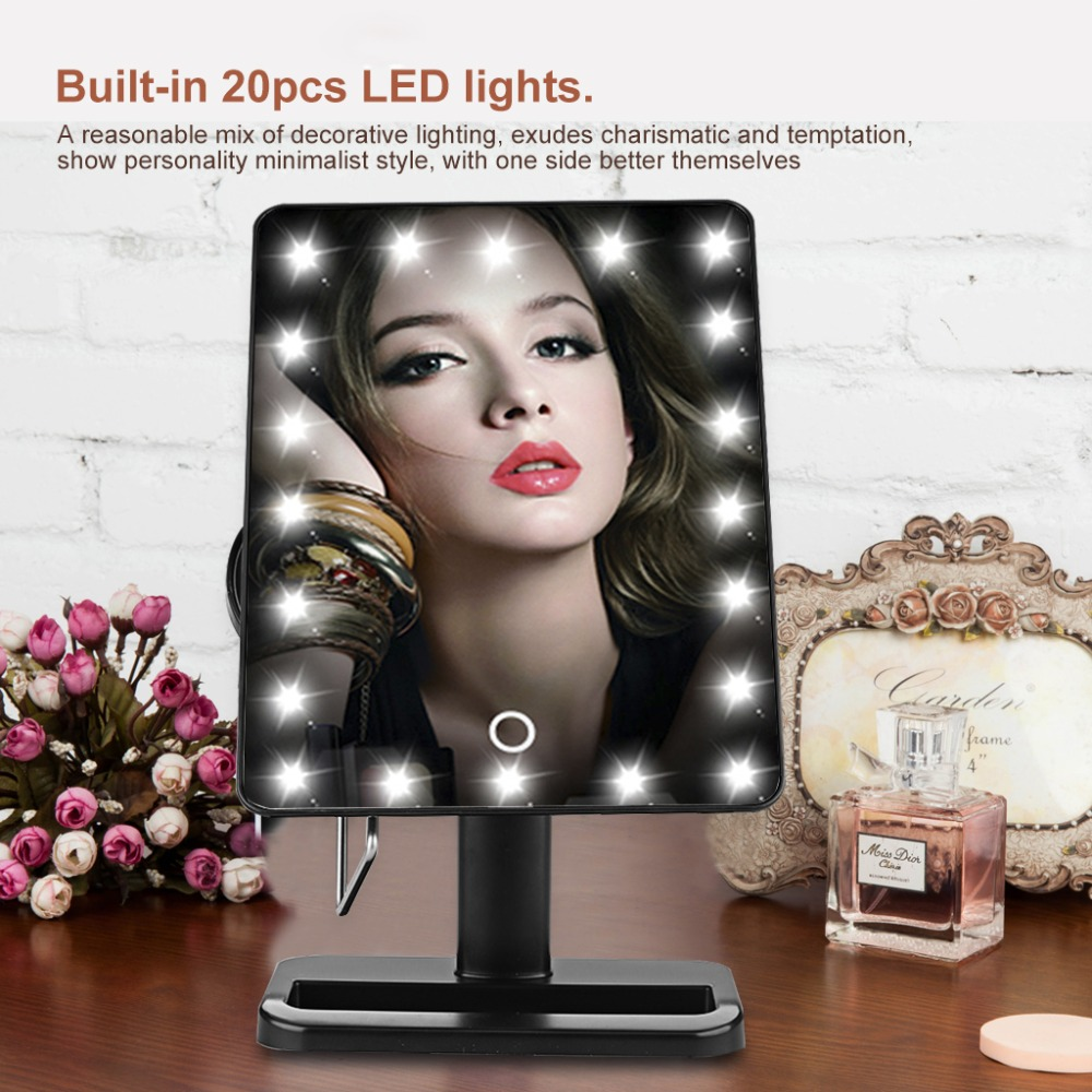 top sale adjustable vanity tabletop countertop mirror make-up cosmetic mirror 20 leds lighted makeup magnifying mirror