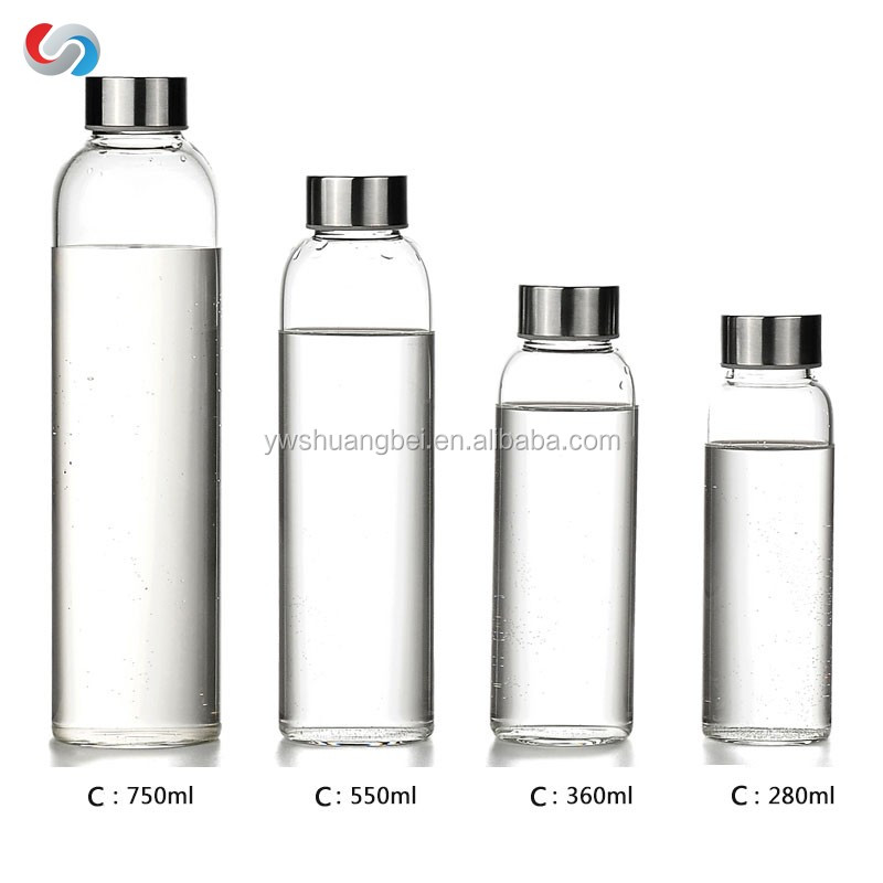 wholesale Factory Supply voss water cylinder glass bottle with plastic lids