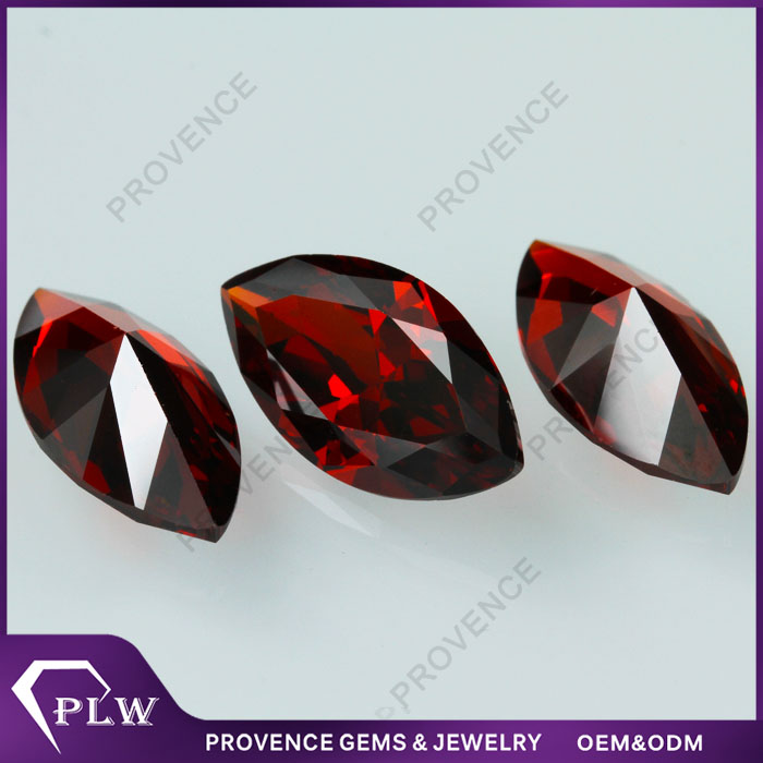 Large size Red Garnet color Marquise shape Synthetic Loose CZ stone in stock