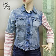 Wholesales discharge print embroidery denim women jean jacket