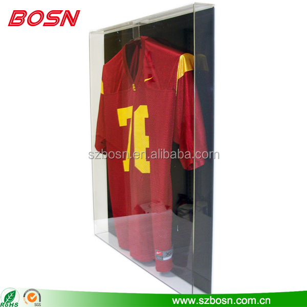 Manufactory customize acrylic football jersey display case Perspex sport shirt frame