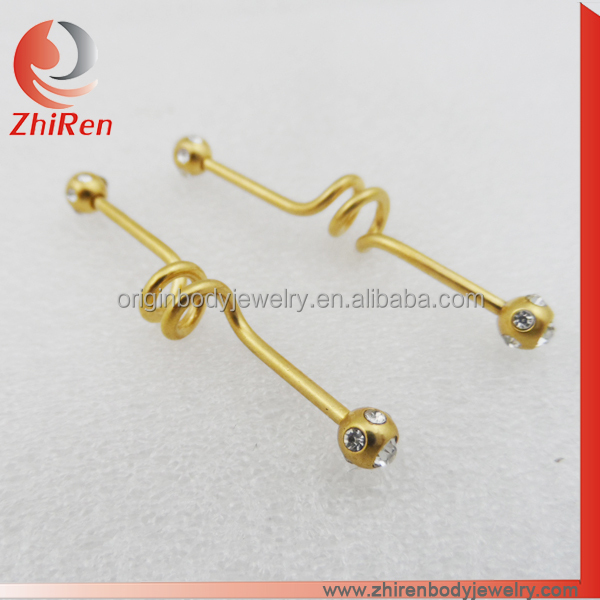 Stainless Steel IP gold Industrial Barbell, Industrial piercing with multiple gems