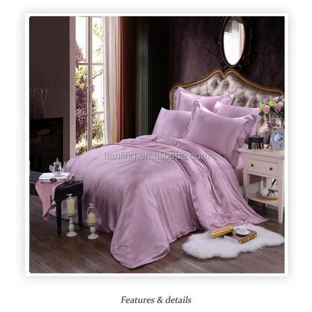 Four Colour Choose Mulberry Silk Duvet Cover Pillowcases Bedding Sets Flat