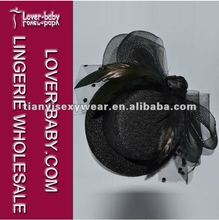 2012 fashion black cocktail mini top hat with fascinator