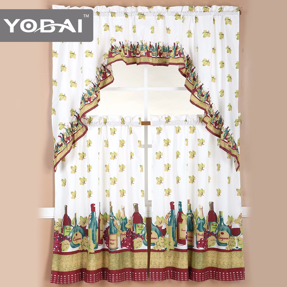 Fancy Design Kitchen Window Printed Curtain